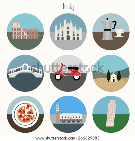 Italy Icons Set - Vector EPS10 - stock vector