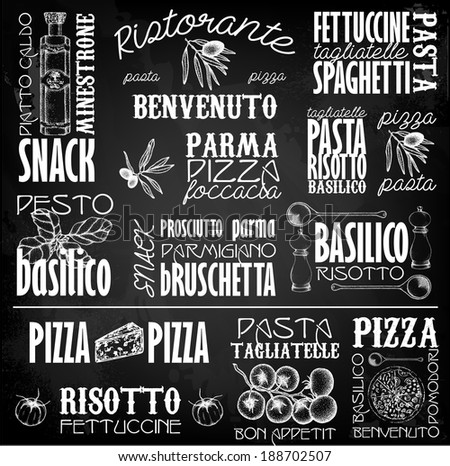 Italy  labels with hand drawn elements - stock vector