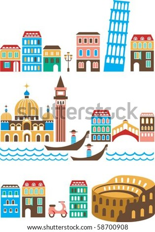 Italy - landmarks and attractions - stock vector