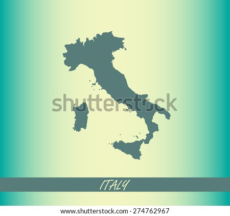 Italy map outlines on an abstract background - stock vector