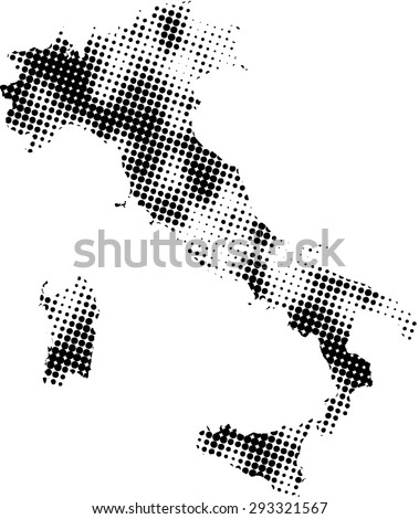 Italy map vector in dots patterns, Italy map outlines in a contrasted black and white dots background - stock vector
