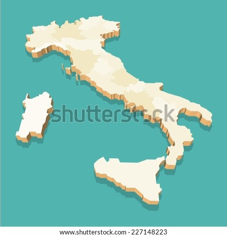 Italy Map Vector Three Dimensional  - stock vector