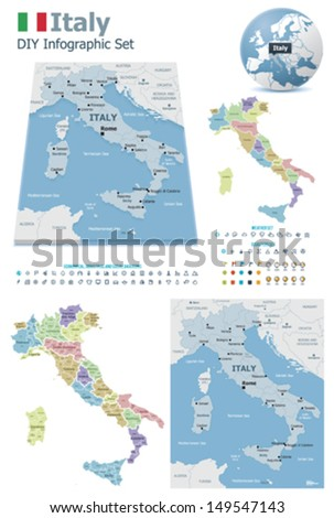 Italy maps with markers - stock vector