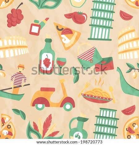 Italy seamless pattern with wine glass gondola olive oil vector illustration - stock vector