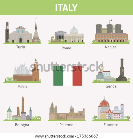 Italy. Symbols of cities. Vector set - stock vector