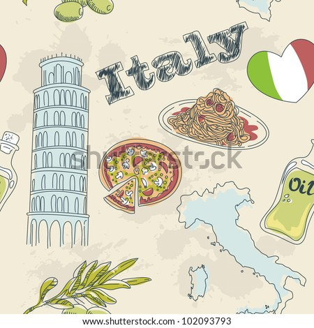 Italy travel grunge seamless pattern with national italian food, sights, map and flag - stock vector