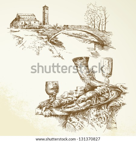 Italy, Tuscany - hand drawn collection - stock vector