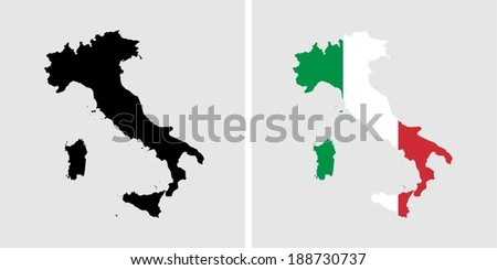 ITALY - vector map isolated on white background - stock vector