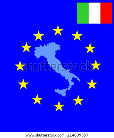 Italy vector map with flag isolated on EU background. High detailed tricolor illustration - stock vector