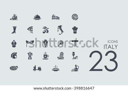 Italy vector set of modern simple icons - stock vector
