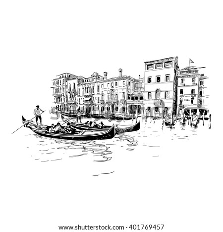 Italy. Venice. Hand drawn sketch vector illustration - stock vector