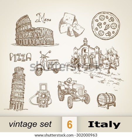 Italy. vintage set - stock vector