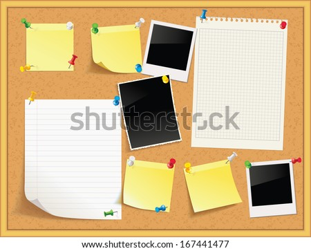Items pinned to a cork message board with wood frame, ready for your customized text or images. Yellow stick note. Blank worksheet exercise book. Empty shiny photo frame. Vector illustration. Set - stock vector