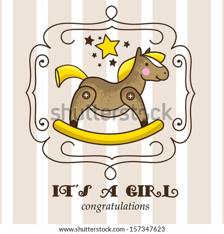 Its a girl. Baby shower invitation card with retro rocking horse - stock vector