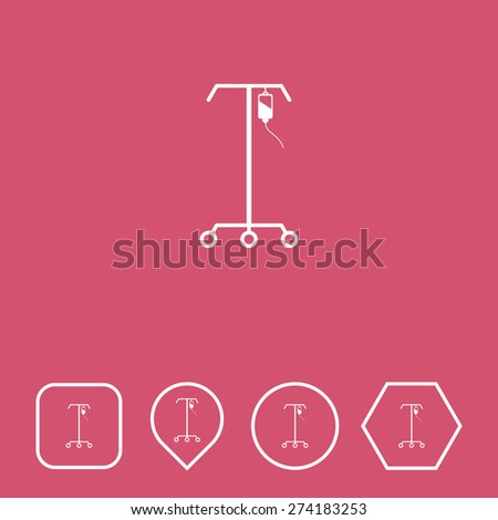IV Stand Icon on Flat UI Colors with Different Shapes. Eps-10. - stock vector