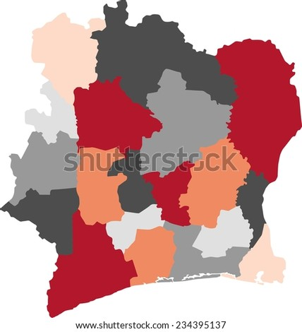 Ivory Coast political map with pastel colors. - stock vector