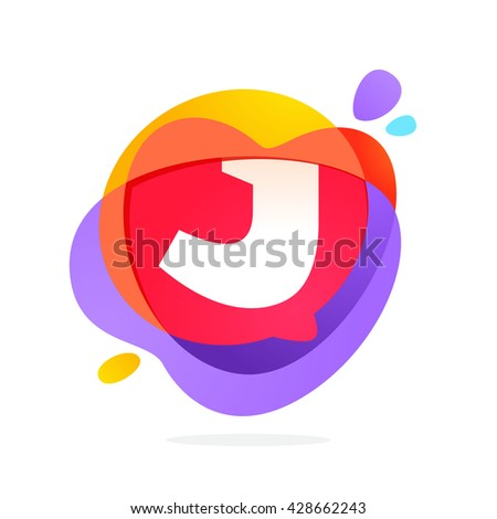 J letter logo with speech bubble and hearts. Vector typeface for communication app icon, corporate identity, card, labels or posters. - stock vector