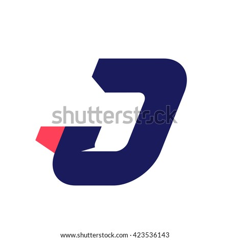 J letter run logo design template. Vector sport style typeface for sportswear, sports club, app icon, corporate identity, labels or posters. - stock vector