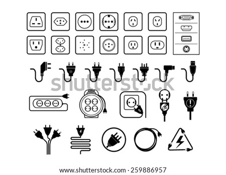Jack and plug set, vectors - stock vector