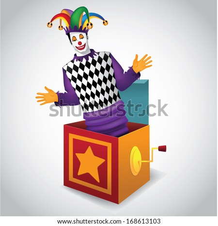 Jack in the Box. EPS 10 vector, grouped for easy editing. No open shapes or paths. Royalty free illustration perfect for childrens parties, mardi gras,  purim, carnivals, birthdays - stock vector