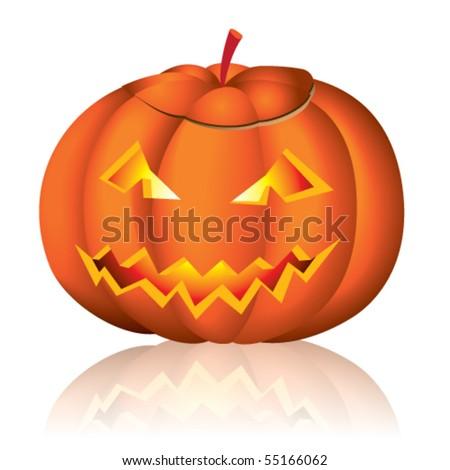 Jack-o-lantern halloween vector illustration on white background - stock vector