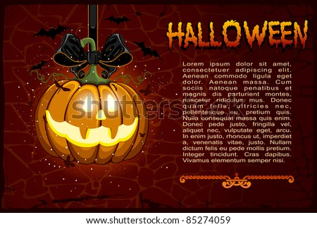 Jack-o-lantern hanging on a black ribbon with bow. Background for Halloween, vector. - stock vector