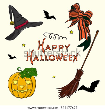 Jack-o-lantern, Hat, Striped Bow, Witch Broom & Flying Vampire Bats, isolated on white background. Vintage Halloween set. Halloween vector typography poster.  Postcard, T-shirt & textile design.   - stock vector