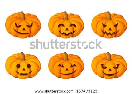 Jack-O-Lantern. Set of six Halloween pumpkins. Vector illustration.    - stock vector