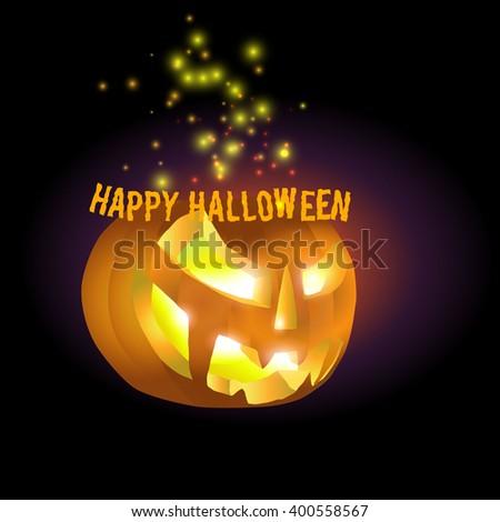 Jack O'Lantern, vector image of Halloween pumpkin on dark background - stock vector