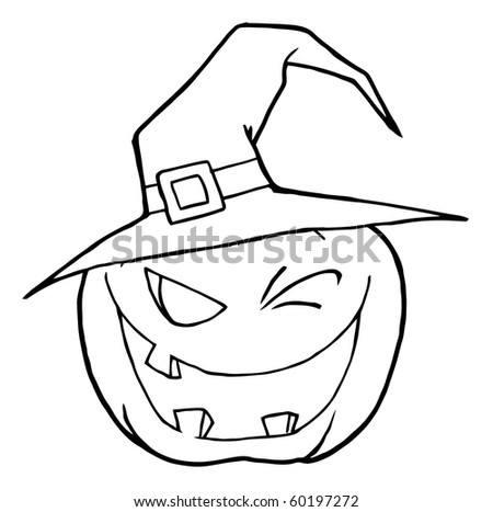 Jack O Lantern Wearing A Witch Hat Winking - stock vector