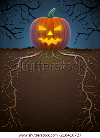 Jack-o-lantern with roots in night lighting. Halloween template with monstrous pumpkin. Qualitative vector illustration for halloween, scary stories, theme party, trick-or-treating, horror design, etc - stock vector