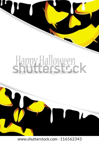 Jack O Lanterns with glowing eyes looking out of the darkness. Abstract Halloween frame - stock vector