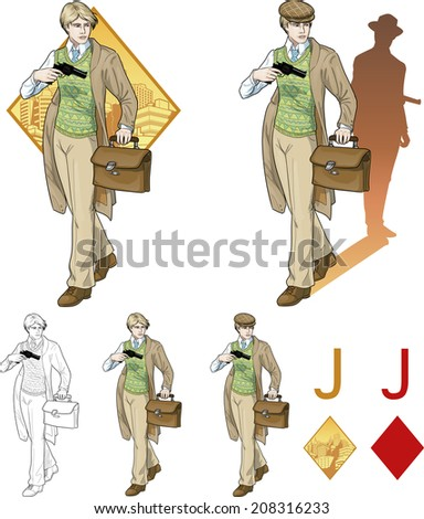 Jack of diamonds boy with a gun retro styled comics card character set of illustrations with black lineart - stock vector