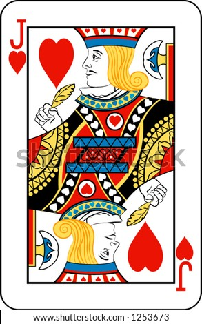 Jack of Hearts  from deck of playing cards, rest of deck available. - stock vector