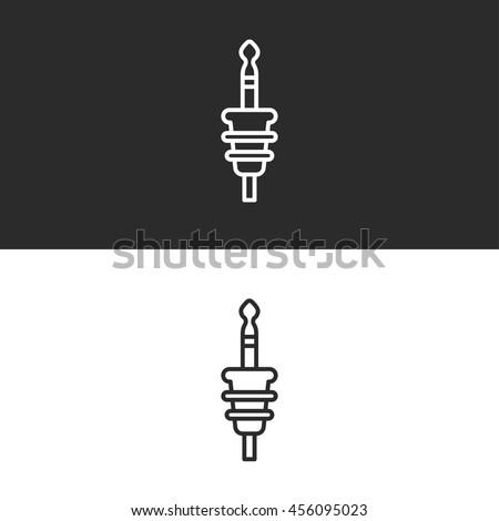 jack plug line icon - stock vector