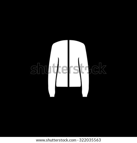 Jacket. Simple flat icon. Black and white. Vector illustration - stock vector