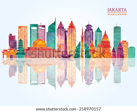 Jakarta detailed skyline. Vector illustration - stock vector