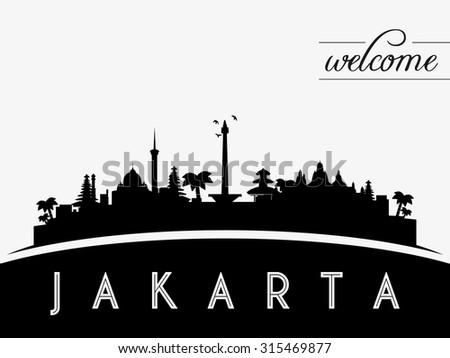 Jakarta Indonesia skyline silhouette, black and white design, vector illustration - stock vector