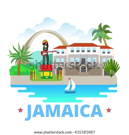 Jamaica country badge fridge magnet design template. Flat cartoon style historic sight showplace web site vector illustration. World vacation travel sightseeing North America collection. - stock vector