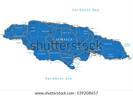 Jamaica map - stock vector