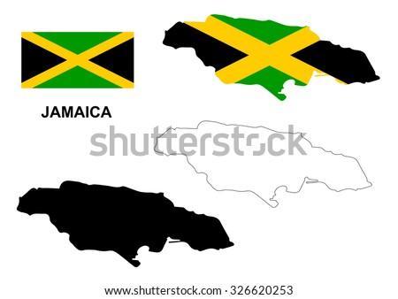 Jamaica map vector, Jamaica flag vector, isolated Jamaica - stock vector