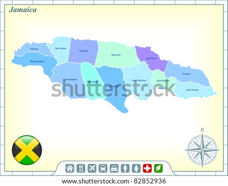 Jamaica Map with Flag Buttons and Assistance & Activates Icons Original Illustration - stock vector