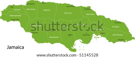 Jamaica map with parishes borders and the capital cities - stock vector
