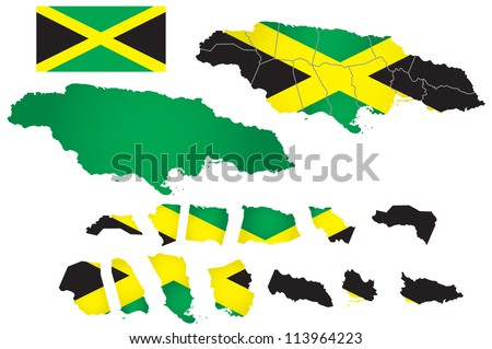 Jamaica vector map with flag - stock vector