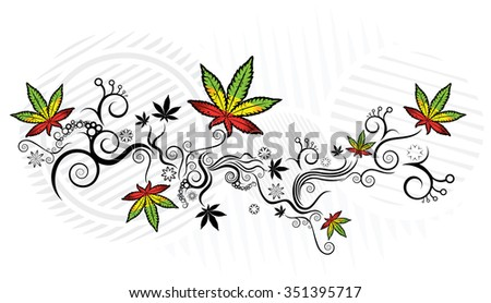 Jamaican style marijuana texture background vector illustration - stock vector
