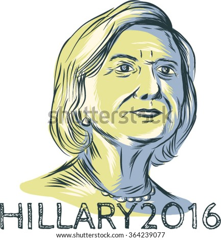 Jan. 19, 2016: Drawing sketch style illustration showing Democrat presidential candidate Hillary Clinton with words Hillary 2016 on isolated background. - stock vector