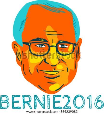 "Jan. 19, 2016: WPA style illustration showing Bernard ""Bernie"" Sanders, American Senator, elected politician and Democrat presidential candidate with words Bernie 2016. - stock vector"