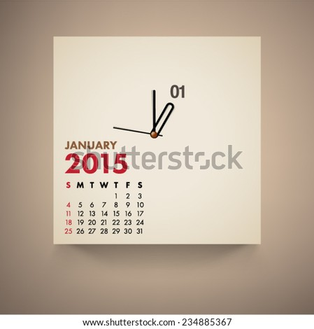 January 2015 Calendar Clock Design Vector  - stock vector