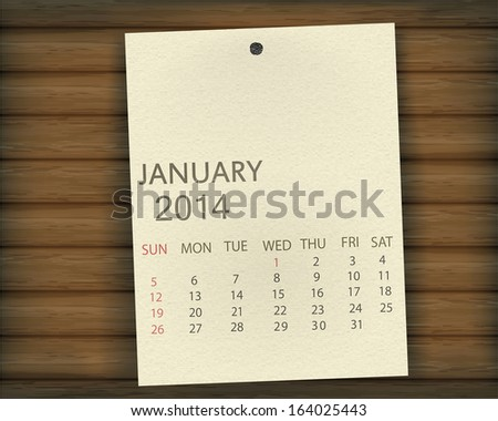 January 2014 Calendar paper on wood - stock vector