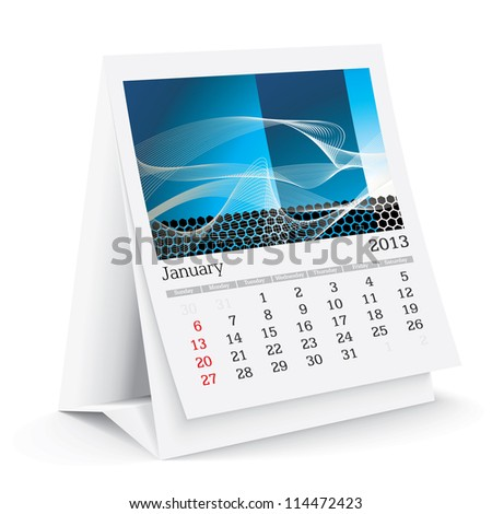 january 2013 desk calendar - stock vector